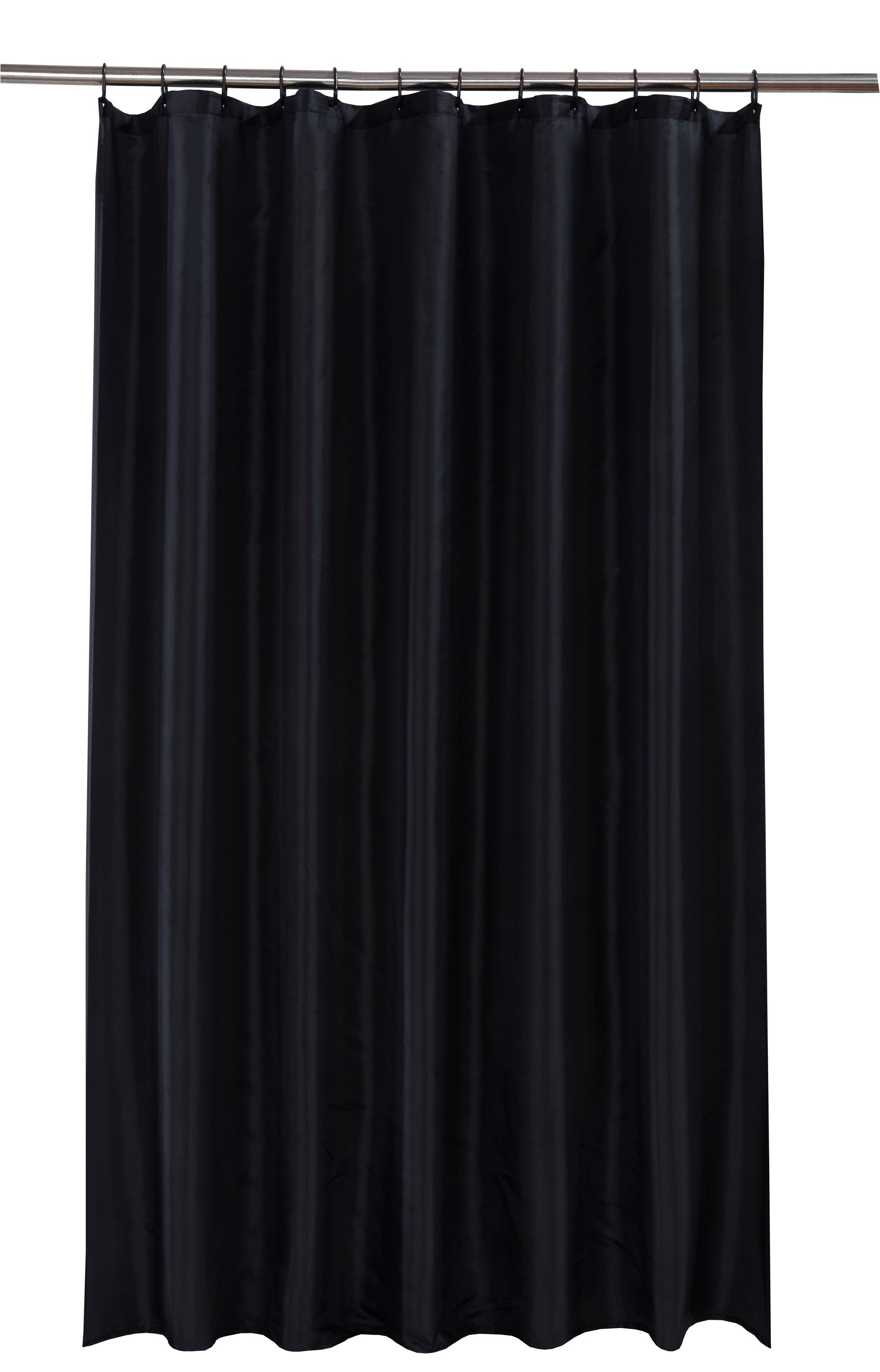 Waterline Black Shower Curtain With 12 Rings