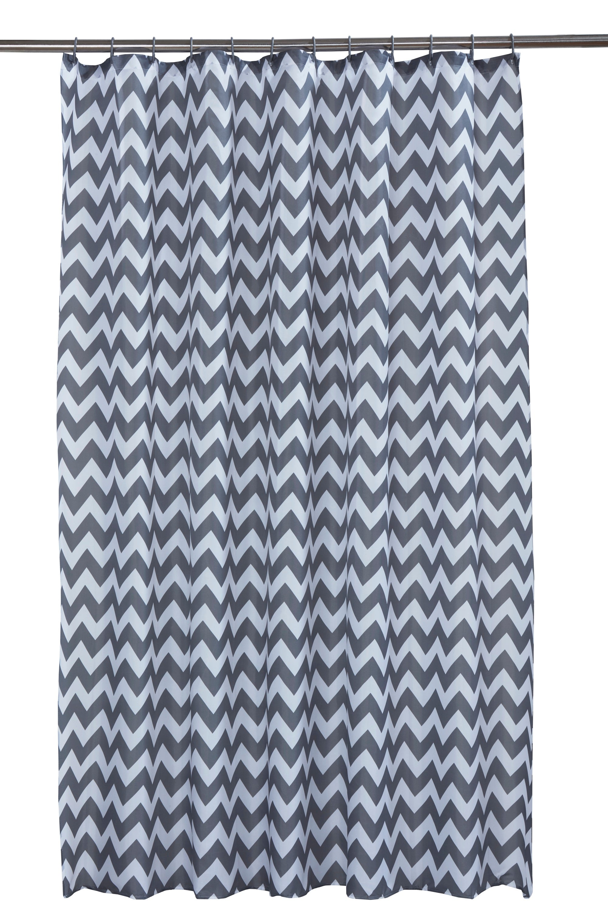 Chevron Grey Printed Shower Curtain With Rings