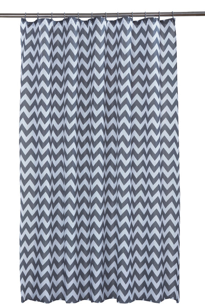 Chevron Grey Shower Curtain Including 12 Rings