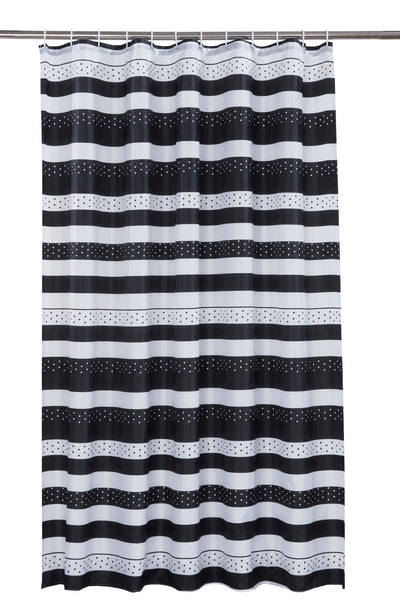 Jet Black And White Shower Curtain Including 12 Rings
