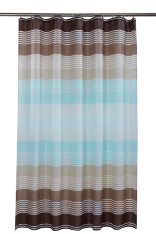 Linear Stripe Shower Curtain Including 12 Rings