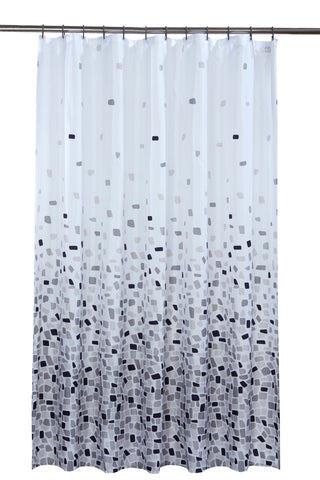 Mosaic Grey Shower Curtain Including 12 Rings