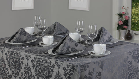 Palazzo Damask Pewter Grey Tablecloth Mega Bargain Package Sets