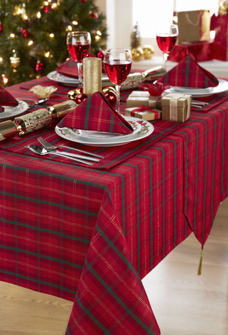Tartan Red/Gold Christmas Tablecloth And Napkin Package Sets