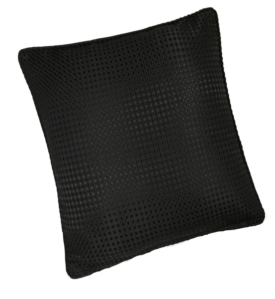 Waffle Black Plain Textured Cushion Cover - TO CLEAR