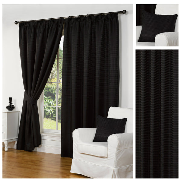 Waffle Black Textured Pencil Pleat Lined Readymade Curtains