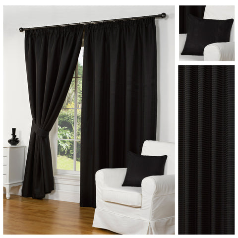 Waffle Black Textured Pencil Pleat Lined Readymade Curtains - TO CLEAR