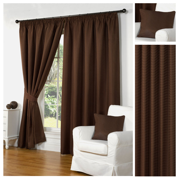 Waffle Brown Textured Pencil Pleat Lined Readymade Curtains