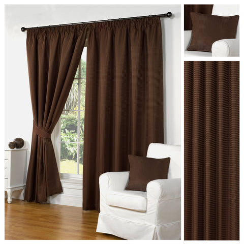 Waffle Brown Textured Pencil Pleat Lined Readymade Curtains - TO CLEAR