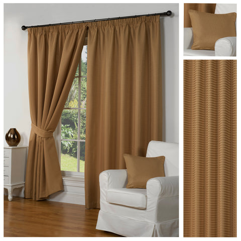 Waffle Gold Textured Pencil Pleat Lined Readymade Curtains