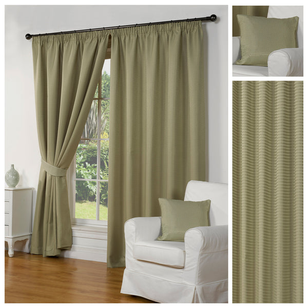 Waffle Green Textured Pencil Pleat Lined Readymade Curtains