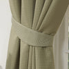 Waffle Green Textured Pencil Pleat Lined Readymade Curtains - TO CLEAR