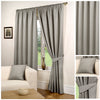 Waffle Grey Textured Pencil Pleat Lined Readymade Curtains - TO CLEAR