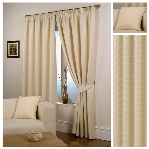Waffle Natural Textured Pencil Pleat Lined Readymade Curtains - TO CLEAR