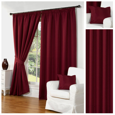 Waffle Red Textured Pencil Pleat Lined Readymade Curtains