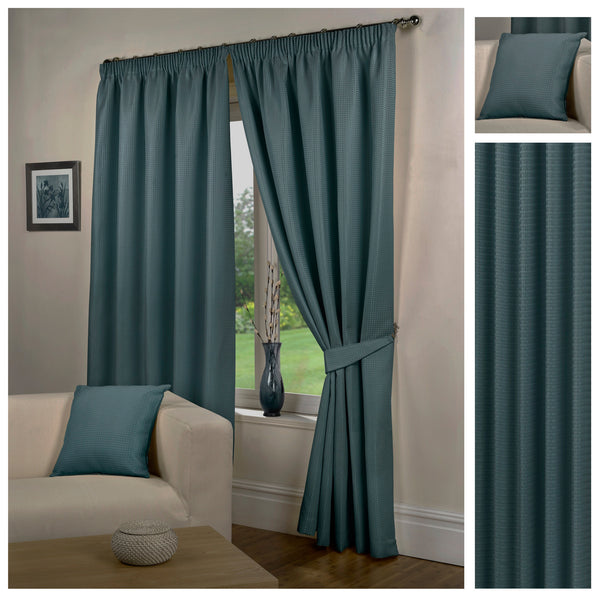 Waffle Sea Blue Textured Pencil Pleat Lined Readymade Curtains - TO CLEAR