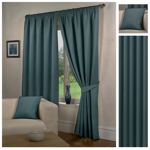 Waffle Sea Blue Textured Pencil Pleat Lined Readymade Curtains