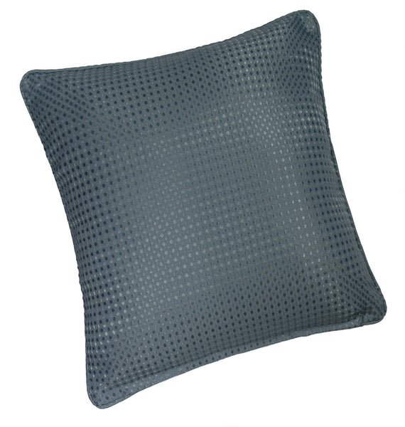 Waffle Sea Blue Plain Textured Cushion Cover - TO CLEAR