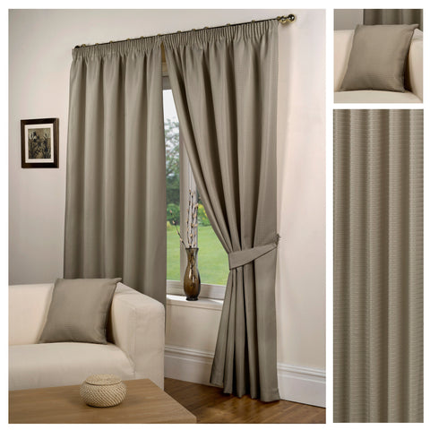 Waffle Taupe Textured Pencil Pleat Lined Readymade Curtains - TO CLEAR