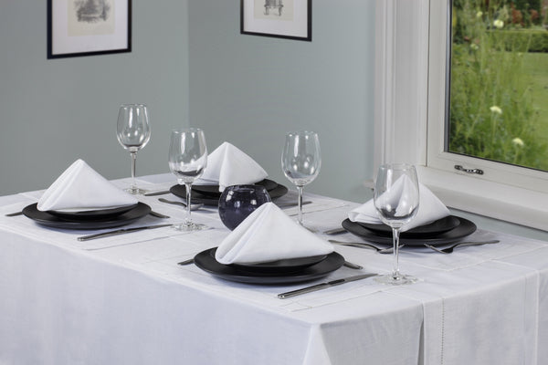 Linen Look White Tablecloth Mega Bargain Package Sets