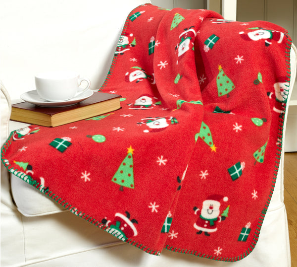 Twin Pack Santa Design Christmas Throwover/Blanket