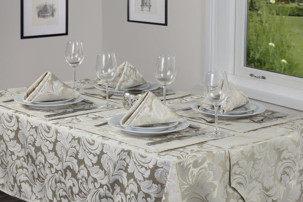 Cadiz Damask Champagne Tablecloth Mega Bargain Package Sets