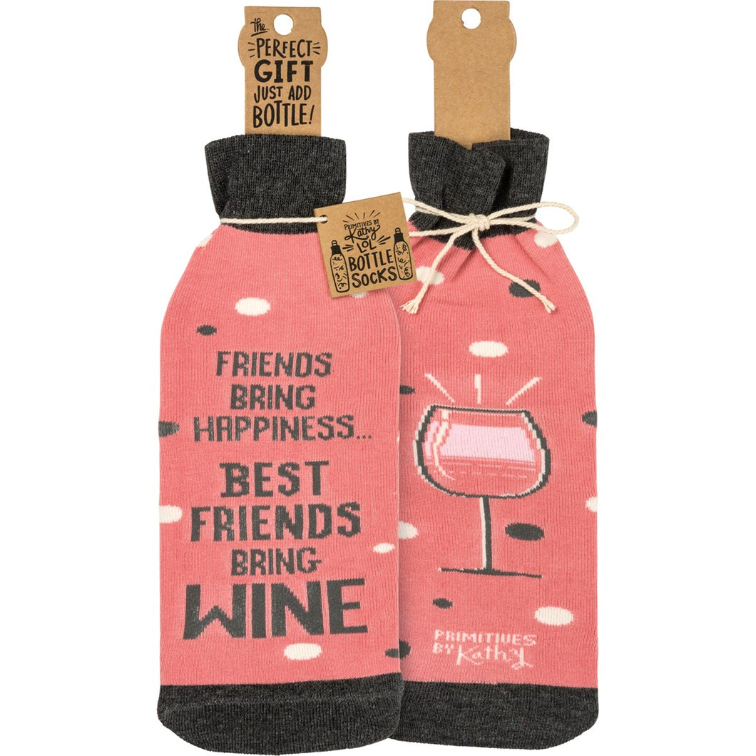 Best Friends Wine Sock