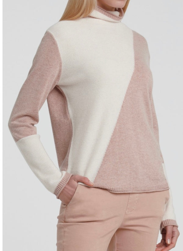 Mix Knitted Sweater With Color Blocking