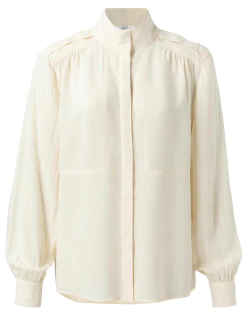 Lyocell Blend High Neck Shirt With Concealed Buttons