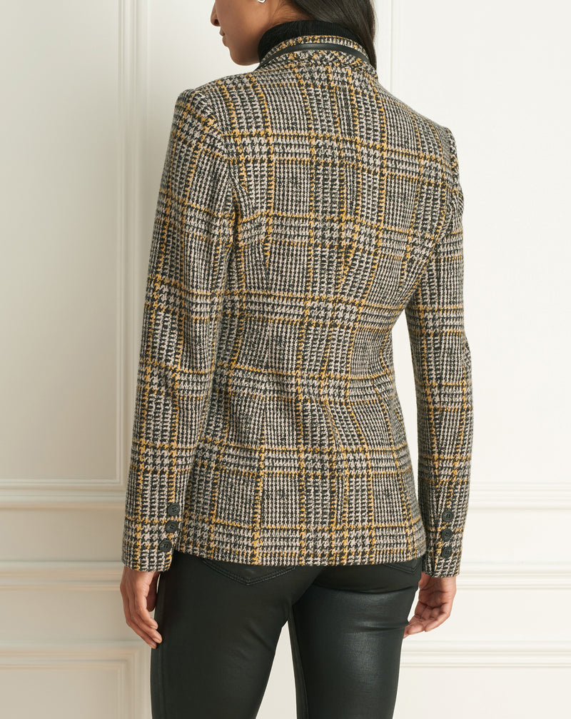 Plaid Faux Double-Breast Jacket With Leather