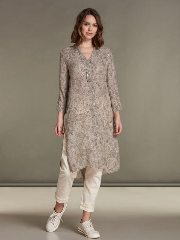 Dress/Tunic 3/4 Sleeve Soft Sand Print