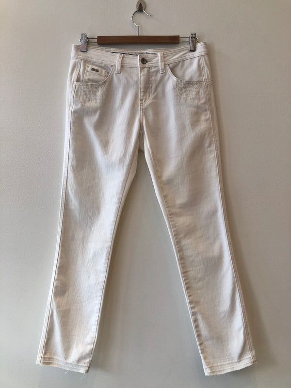 Jeans Off White Front Pocket Stitch
