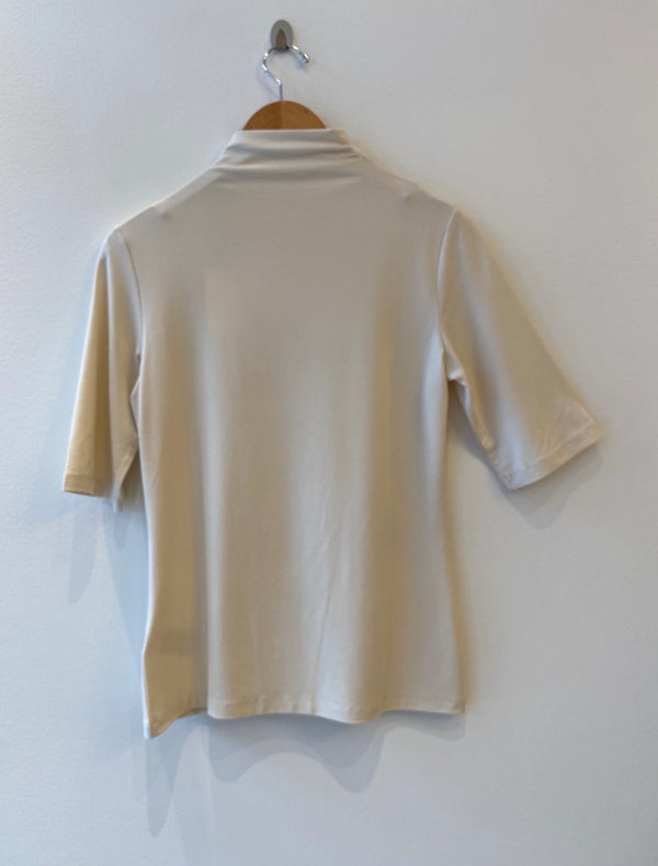 Mock Neck Top With Half Sleeves