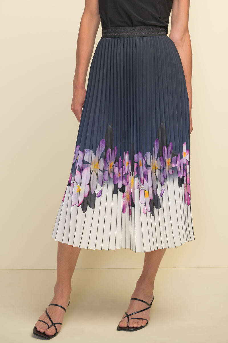 Pleated Skirt With Floral Design