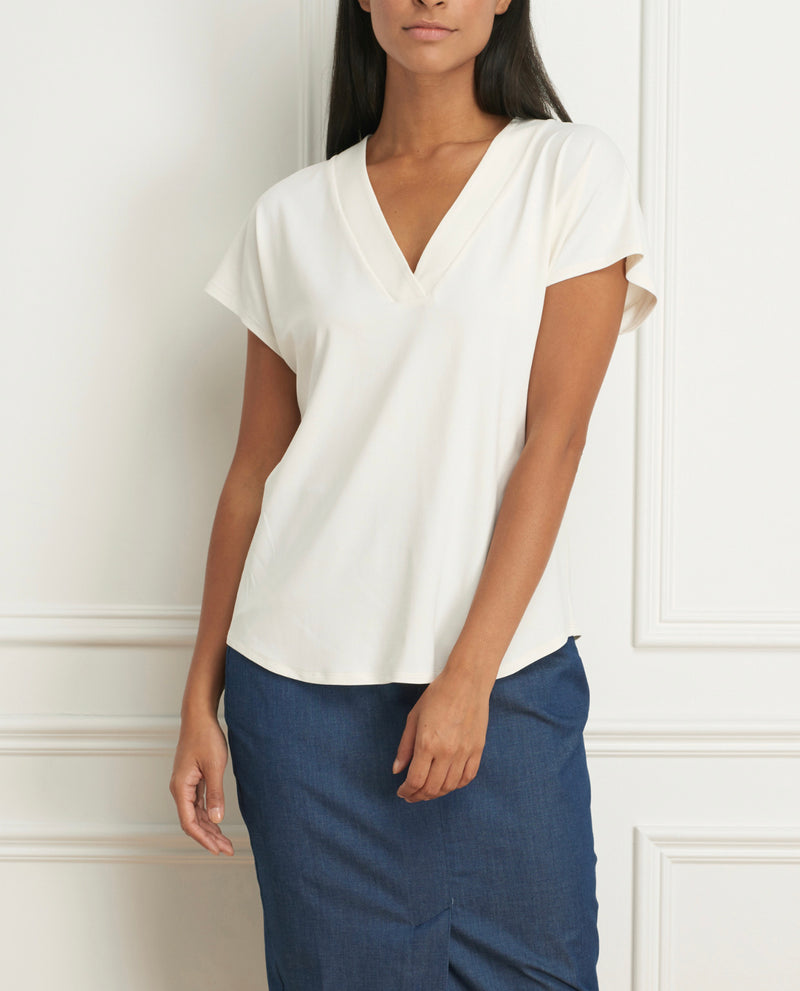 Top Jersey V Neck Cap Sleeves