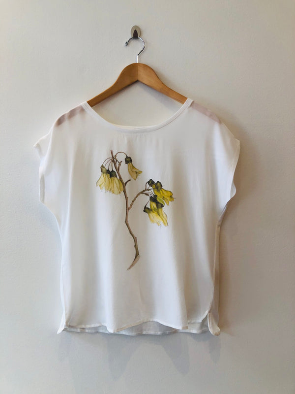 Short Sleeve Silk Scoop Neck Top
