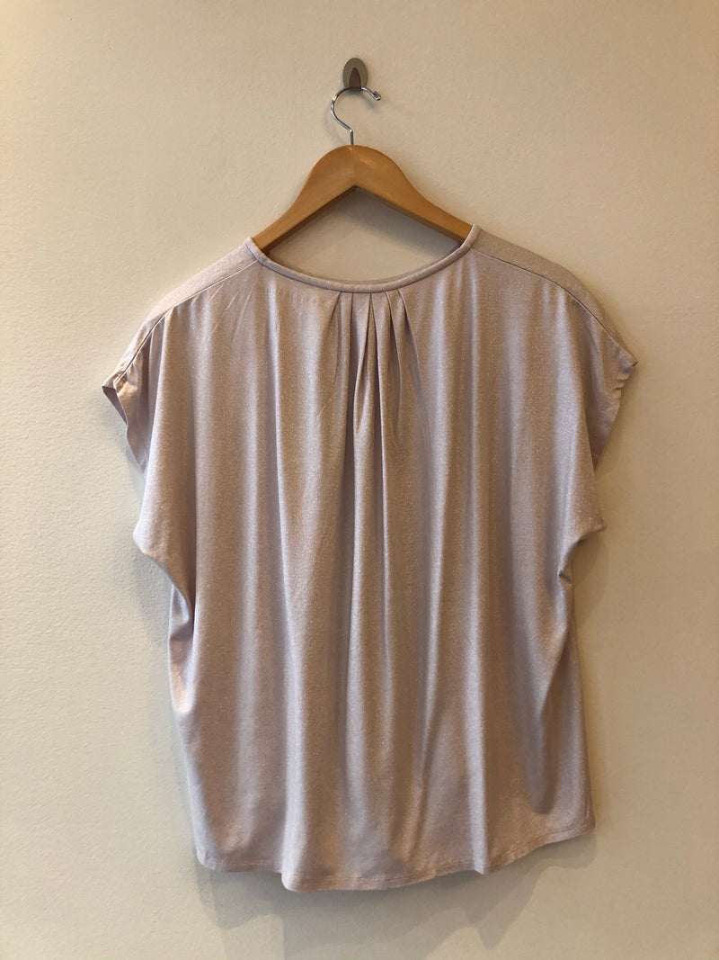Short Sleeve Metallic Crew Neck Top