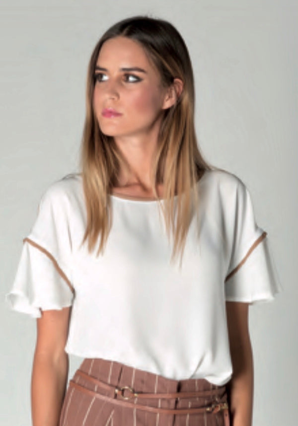 Top Frill Sleeve with Piping