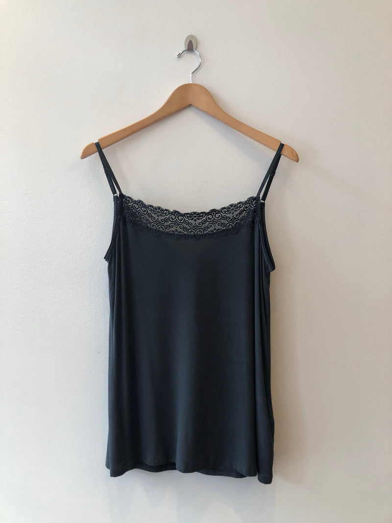 Camisole Petrol With Lace Trim