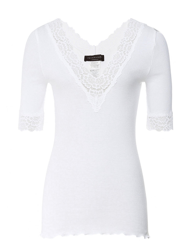 Bernadine Organic V Neck Elbow Sleeves with Lace Details