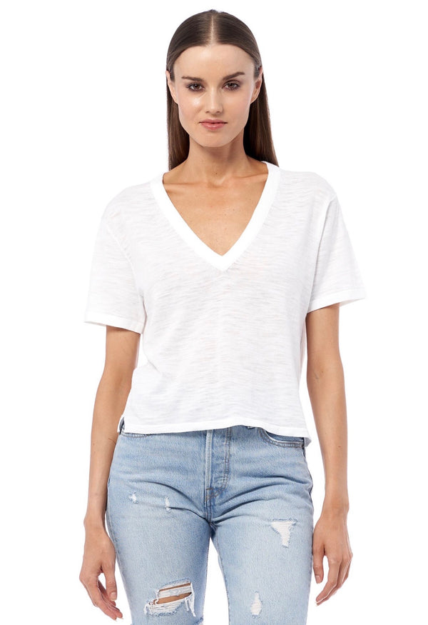EVERLEY V neck Short Sleeve sweater