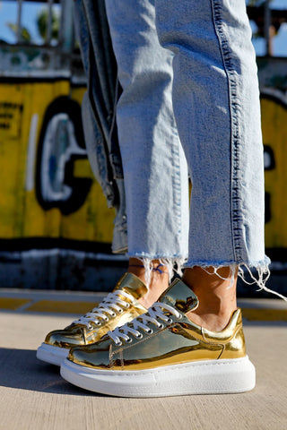 Lace-up Gold Sport Shoes
