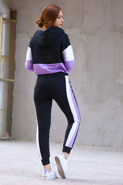 Lilac - Black Fleece Tracksuit - 88546