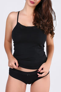 Lace Detailed Black Sleeveless T-shirt