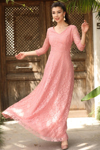 Dusty Rose Lace Evening Dress