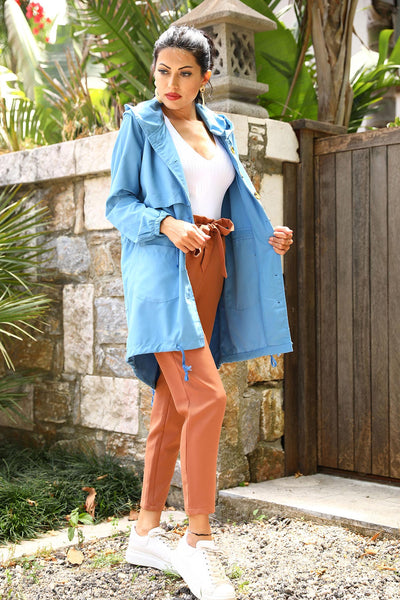 Button Blue Trenchcoat _ 3123