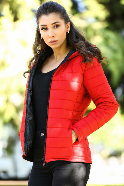 Hooded Red Blown Coat - 3106