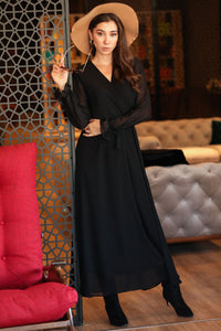 Wrap Black Long Dress