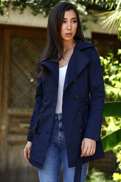 Belted Navy Blue Trenchcoat