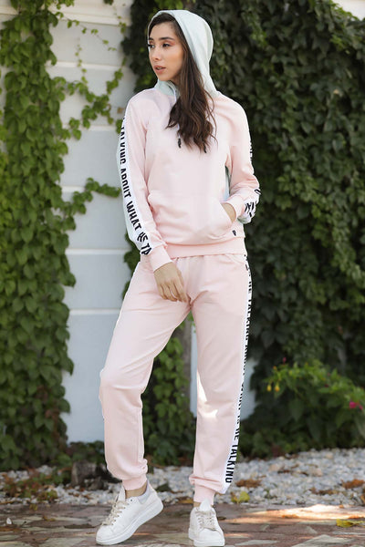 Women's Printed Pink Sweat Suit